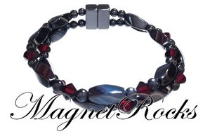 Infinity Jewelry Collection Siam Crystal Magnetic Hematite Bracelet.