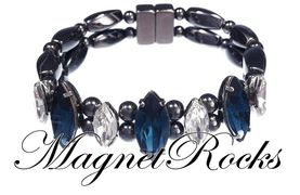 Mystic Jewelry Collection Montana and Clear Crystal Magnetic Hematite Bracelet