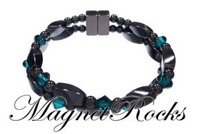 Infinity Jewelry Collection Emerald Crystal Hematite Magnetic Bracelet.