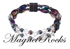 Unity Jewelry Collection Clear Crystal Rainbow Hematite Magnetic Bracelet.