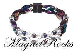Unity Jewelry Collection Clear Crystal Rainbow Magnetic Hematite Bracelet