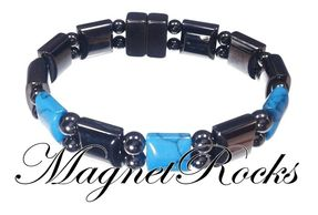 Beautifully Bold Jewelry Collection Blue Turquoise Hematite Magnetic Bracelet.
