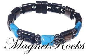 Beautifully Bold Jewelry Collection Blue Turquoise Magnetic Hematite Bracelet
