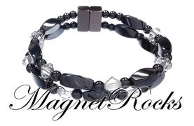 Infinity Jewelry Collection Clear Crystal Magnetic Hematite Bracelet