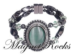 Victorian Jewelry Collection Peridot Crystal Magnetic Hematite Bracelet
