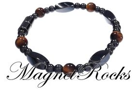 Simply Seductive Jewelry Collection Golden Tiger Eye Magnetic Hematite Bracelet.