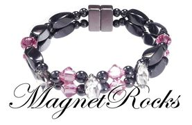 Enchanted Jewelry Collection Rose and Clear Crystal Magnetic Hematite Bracelet