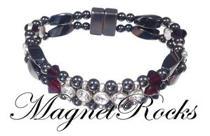 Elegant Jewelry Collection Siam Crystal, Rhinestone and Hematite Magnetic Bracelets.