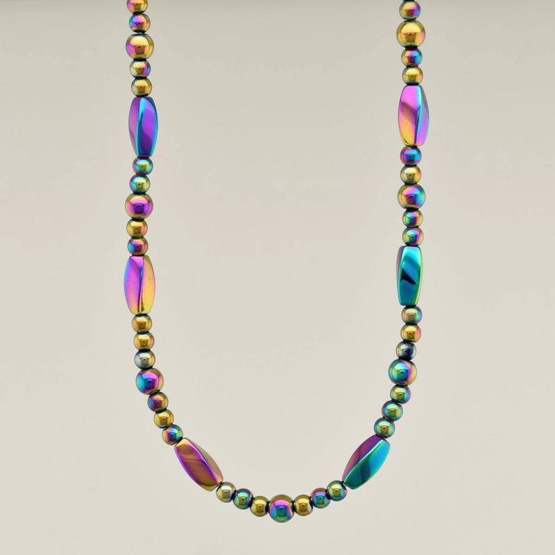 Three-In-One Jewelry Collection Rainbow Magnetic Hematite Necklace
