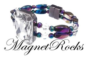 Divine Jewelry Collection Clear Crystal Rainbow  Hematite Magnetic Bracelet.