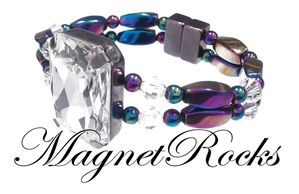 Divine Jewelry Collection Clear Crystal Rainbow Magnetic Hematite Bracelet
