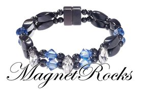 Enchanted Jewelry Collection Sapphire and Clear Crystal Magnetic Hematite Bracelet