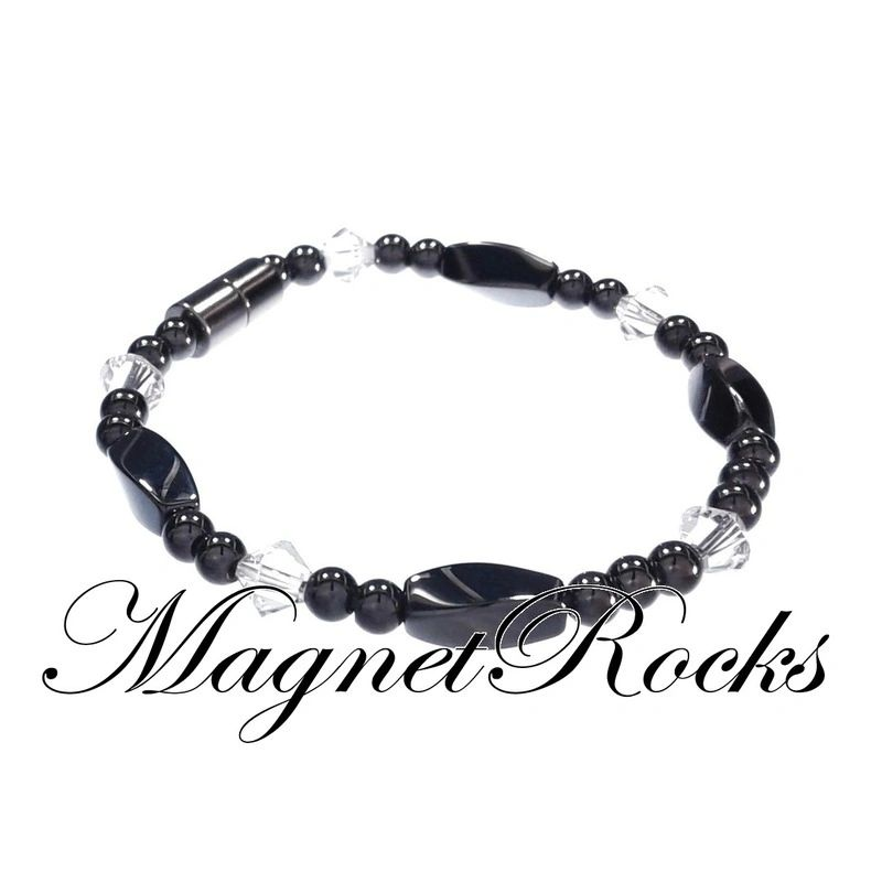 Simply Seductive Jewelry Collection Clear Crystal Magnetic Hematite Bracelet