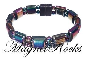 Beautifully Bold Jewelry Collection Rainbow Hematite Magnetic Bracelet.