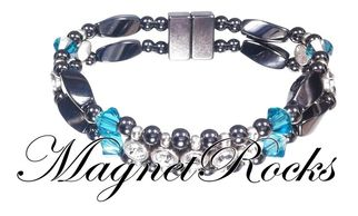 Elegant Jewelry Collection Blue Zircon Crystal, Rhinestone and Magnetic Hematite Bracelet