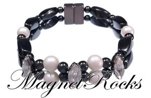 Enchanted Crystal Pearlescent White Pearl and Clear Crystal Bracelet