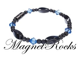 Seductive Jewelry Collection Sapphire Crystal Hematite Magnetic Bracelet.