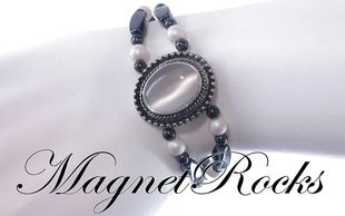 Victorian Jewelry Collection  Crystal Pearlescent White Pearl Magnetic Hematite Jewelry Set