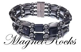 4x4 Jewelry Collection Blue Goldstone Magnetic Hematite Bracelet