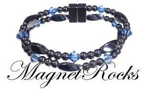 Allure Jewelry Collection Sapphire Crystal Magnetic Hematite Bracelet