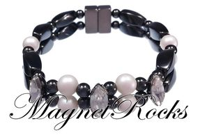 Enchanted Jewelry Collection Pearl and Clear Crystal Magnetic Hematite Bracelet