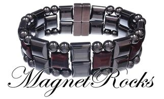 Quad Jewelry Collection Red Tiger Eye Hematite Magnetic Bracelet.