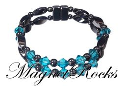 Unity Jewelry Collection Blue Zircon Crystal Magnetic Hematite Bracelet