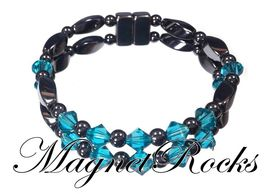 Unity Jewelry Collection Blue Zircon Crystal Magnetic Hematite Bracelet.