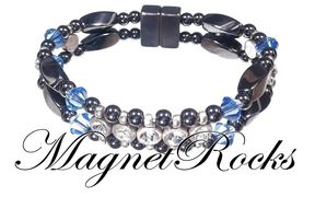 Elegant Jewelry Collection Sapphire Crystal, Rhinestone and Magnetic Hematite Bracelet