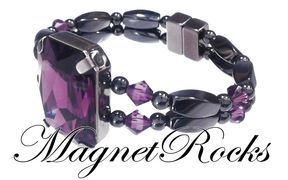 Divine Jewelry Collection Amethyst Crystal Magnetic Hematite Bracelet