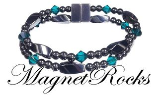 Allure Jewelry Collection Emerald Crystal Magnetic Hematite Bracelet.