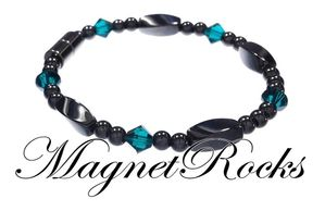 Simply Seductive Jewelry Collection Emerald Crystal Hematite Magnetic Bracelets.