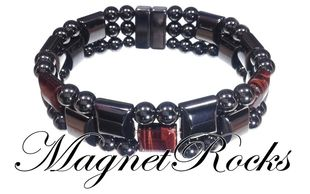 Triple Threat Jewelry Collection Red Tiger Eye Magnetic Hematite Bracelet.