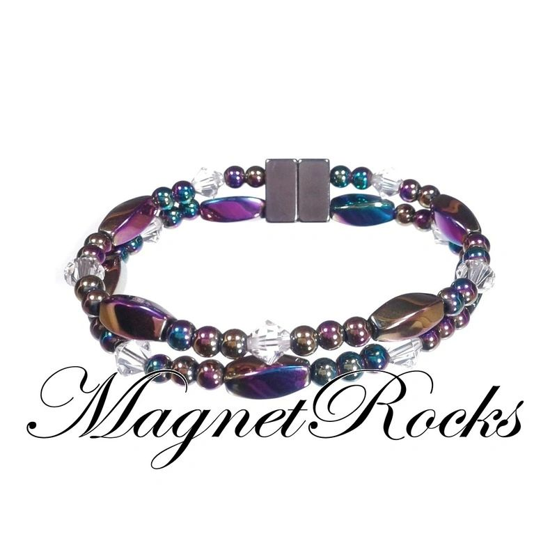 Allure Jewelry Collection Clear Crystal Rainbow Magnetic Hematite Bracelet