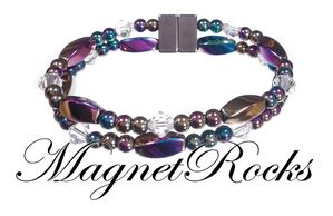 Allure Jewelry Collection Clear Crystal Rainbow Hematite Magnetic Bracelet.