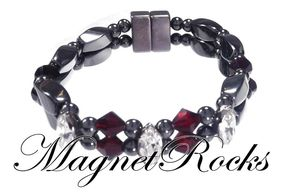 Enchanted Jewelry Collection Siam and Clear Crystal Magnetic Hematite Bracelet