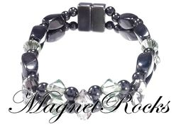 Enchanted Jewelry Collection Peridot and Clear Crystal Magnetic Hematite Bracelet