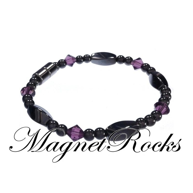 Simply Seductive Jewelry Collection Amethyst Crystal Magnetic Hematite Bracelet