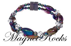 Infinity Jewelry Collection Clear Crystal Rainbow Magnetic Hematite Bracelet