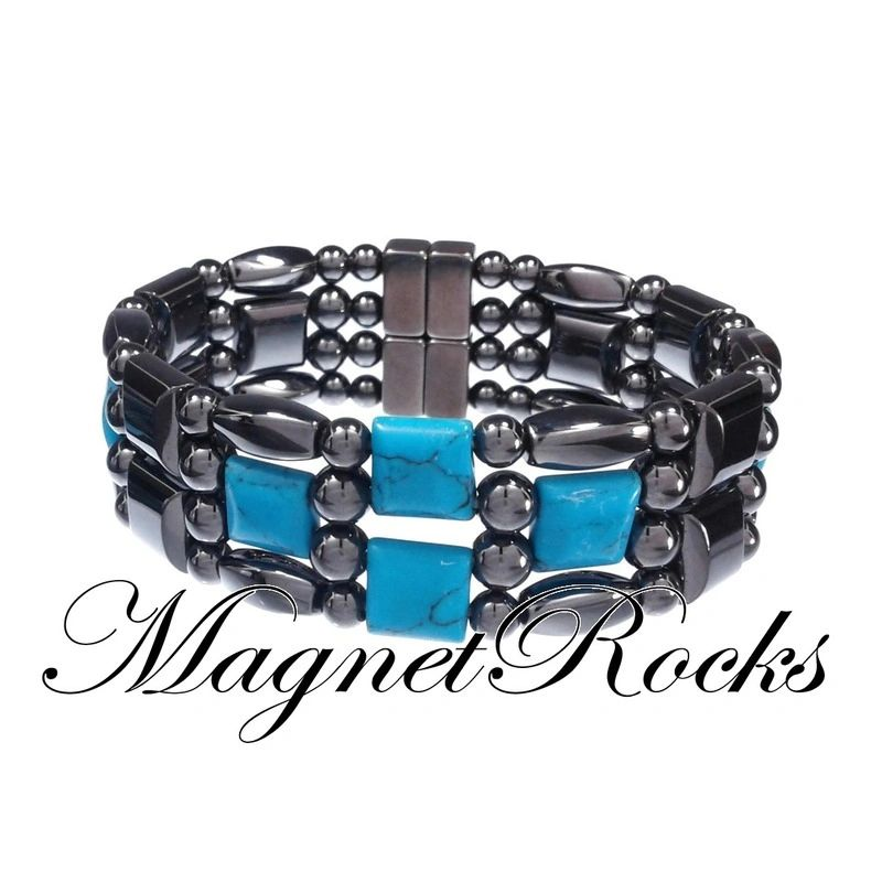 4x4 Jewelry Collection Blue Turquoise Magnetic Hematite Bracelet