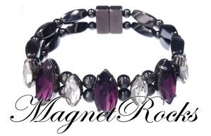 Mystic Jewelry Collection Amethyst  and Clear Crystal Magnetic Hematite Bracelet