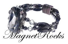 Divine Jewelry Collection Black Diamond Crystal Magnetic Hematite Bracelet