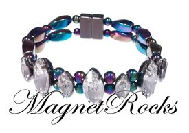 Mystic Jewelry Collection Clear Crystal Rainbow Hematite Magnetic Bracelet.