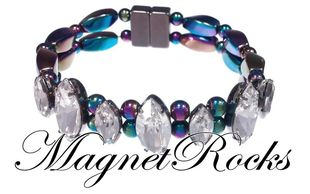 Mystic Jewelry Collection Clear Crystal Rainbow Magnetic Hematite Bracelet
