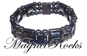 Triple Threat Jewelry Collection Blue Goldstone Hematite Magnetic Bracelet.
