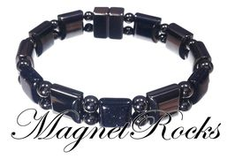 Beautifully Bold Jewelry Collection Blue Goldstone Magnetic Hematite Bracelet