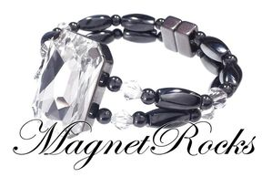 Divine Jewelry Collection Clear Crystal Magnetic Hematite Bracelet.