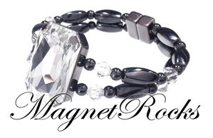 Divine Jewelry Collection Clear Crystal Magnetic Hematite Bracelet