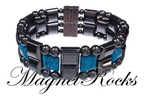 Quad Jewelry Collection Blue Turquoise Magnetic Hematite Bracelet.