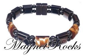 Bold Jewelry Collection Golden Tiger Eye Magnetic Hematite Bracelet.